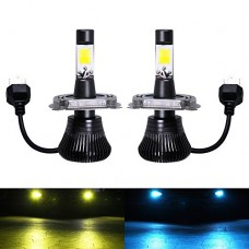 H4 LED Fog Light Bulb H4 Fog Bulbs Yellow 3000K Ice Blue 8000K Dual Colors Car Gold Lamps Trucks 12V 30W Replacement Accessories Modification Brigh...