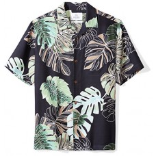 28 Palms Men's Relaxed-Fit 100% Silk Hawaiian Shirt, Navy Banana Leaf, XX-Large