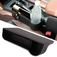 Side Pocket Organizer - Car Seat Filler Gap Space Storage Box Bottle Cup Holder Coin Collector | Car Interior Accessories | Premium PU Leather