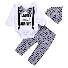 3Pcs Cute Boys Hipster Bowtie Strap Long Sleeve Bodysuit +Moustache Pants+Hat Outfits Set (3-6M, White)