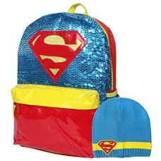 DC Comics Super Hero Girls Supergirl Sequin 16 Backpack and Beanie Set