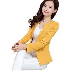 Rebecca Lujan Women's Lapel One Button Long Sleeve Short Suit Blazer Jacket Coat