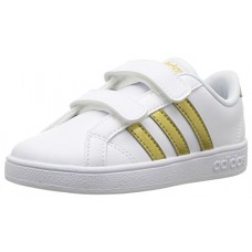 adidas Boys' Baseline CMF Inf Sneaker, White/Matte Gold/Black, 7.5 M US Infant