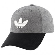 adidas Mens Originals Trefoil Plus Precurve Structured Cap, Black Chambray/Black Suede, One Size