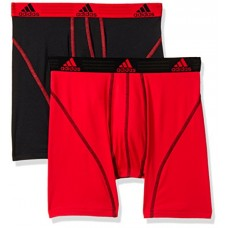 adidas Men's Sport Performance Climalite Boxer Brief Underwear (2 Pack), Real Red/Black, Large/Waist Size 36-38