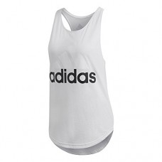 adidas Women's Essentials Linear Loose Tank Top, White/Black, Small