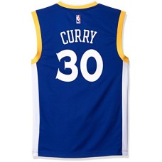 NBA Men's Golden State Warriors Stephen Curry Replica Player Stretch Jersey, Large, Blue