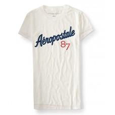 Aeropostale Women's Graphic Embroidered T-Shirt With 87 Logo Style 3652 (Small, Cream 047)