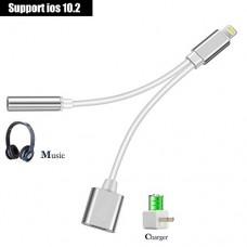 iPhone 7 Adapter, AKwor 2 in 1 Lightning Adapter and Charger, Lightning to 3.5mm Aux Headphone Jack Audio Adapter for iphone 7, 7 plus - Not Suppor...