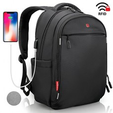Laptop Backpack - Anti Theft Backpack Waterproof Rain Cover - SWISS Design RFID Blocking - USB Charging Port - Business College Travel School Backp...