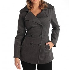 Alpine Swiss Emma Women's Gray Wool 3/4 Length Double Breasted Peacoat Medium