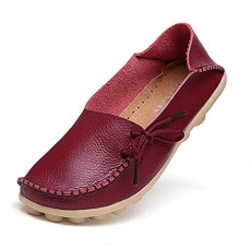 Women's Leather Loafers Shoes Wild Driving Casual Flats Burgundy 10