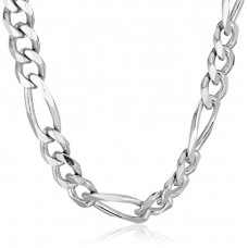 Men's Sterling Silver Italian 6.80mm Solid Figaro Link-Chain Necklace, 18""