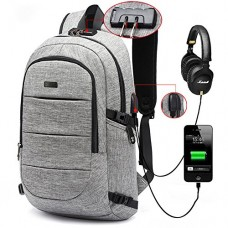Business Laptop Backpack, Anti Theft Waterproof Travel Backpack with USB Charging Port & Headphone interface for College Student,Fits Under 15.6-In...