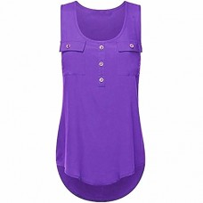 FENZL Women's Casual T-shirt O-neck Sleeveless Vest Sexy Loose Tank Tops Plus Size (4XL, Purple)