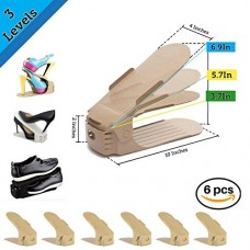 UPGRADED Adjustable Shoe Slots Doble Set Of 6 By AMVEE: Shoe Organizer Space Saver Closet rack 3step Slot Storage Holder For High Heels, Sneakers, ...