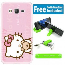 [Ashely Cases] For Samsung Galaxy [J7 2016] Cover Case Skin with Flexible Phone Stand - Hello Kitty Pink H