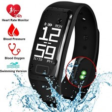 Fitness Tracker Smart Band Waterproof Bracelet with Heart Rate/Blood Pressure/Blood Oxygen/Sleep Monitor, Activity Tracker Pedometer Calories Count...