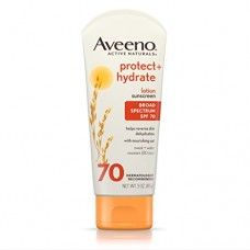 Aveeno Protect + Hydrate Lotion Sunscreen with Active Naturals Oat and Broad Spectrum SPF 70, Sweat and Water Resistant Sun Protection, 3 oz