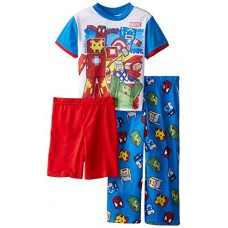 Avengers Little Boys' Game Time 3-Piece Pajama Set, Blue, 4