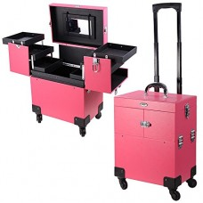 AW Pink 4 Rolling Wheel 14x9x17 PVC Artist Makeup Cosmetic Train Case Lockable Box