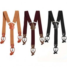 BMC 3pc Mens Mixed Color Pattern Elastic Adjustable Strap Y-Back Button End Suspenders with Clip Fasteners - Set 3