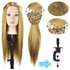 "28 "" Mannequin Head Cosmetology Hair Styling Head Manikin Training Doll Head Synthetic Fiber Hair with Free Clamp"