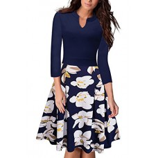 Rockabilly Swing Elegant Feminino Vestidos A Line Flower Tea Dresses (Navy,XL)