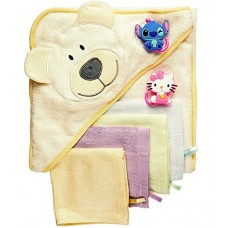 Baby Bath Gift Set: Bamboo Hooded Towel + 6 Washcloths + 2 Suction Cup Hooks + Baby Massage Ebook by BabyVoice