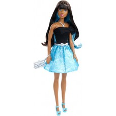 Barbie Day to Night Style Doll Twist to Change Hair From Brunette to Blue and Glamourous Accessories