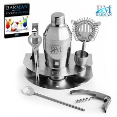 Barman Premium Cocktail Bar Set : 8 Piece Stainless Steel Professional Martini Cocktail Shaker, Jigger, Strainer, Tongs, Openers, Holder and Bonus ...