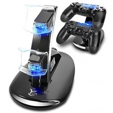 Beastron Y Team Slim Controller Dual USB Fast Charging Docking Station Stand & LED Indicator for Sony PS4 and PS4 Pro Controller, Black - PlayStati...