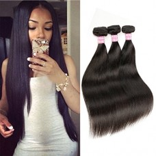 Beautier 6a Straight Hair 3 Bundles Virgin Unprocessed Human Hair Extensions Deal With Mixed Lengths(12 14 16)