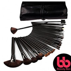 Beauty Bon 32 Piece Makeup Brush Set with Wood Handles