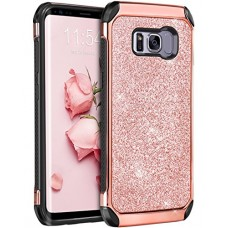 Galaxy S8 Case, Samsung Galaxy S8 Case, BENTOBEN Shockproof Glitter Sparkly Bling 2 in 1 Hybrid Hard PC Shiny Faux Leather Chrome Protective Case f...