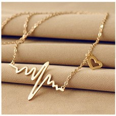 Bestpriceam New Women EKG Necklace Heartbeat Rhythm with Love Heart Shaped (Gold)