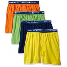 Beverly Hills Polo Club Men's 4 Pack Knit Boxer, Bright Yellow/Navy/Orange/Lime Green, X-Large