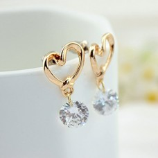 Bobury 1 Pair Heart Drop Earrings Crystal Zircon Earrings Women Girls Dangling Earrings Stud Earrings