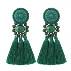 Boderier Bohemian Statement Thread Tassel Chandelier Drop Dangle Earrings with Cassandra Button Stud (Deep Green)