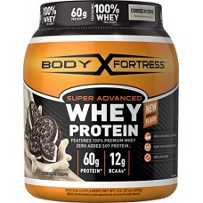 Body Fortress Super Advanced Whey Protein, Cookies N' Creme Protein Supplement Powder to Build Lean Muscle & Strength 1-2lb Jar.