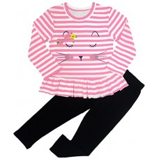BomDeals Adorable Cute Toddler Baby Girl Clothing 2pcs Outfits (12-18 Months, Strip/Pink)