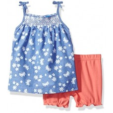 Bon Bebe Baby Girls' 2 Piece Chambray Dress Set with Diaper Cover, Light Blue Chambray, 12 Months