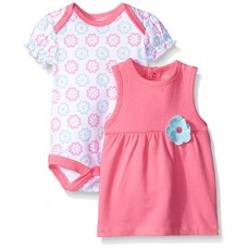 Bon Bebe Baby Girls' 2 Piece Set With French Terry Jumper and Bodysuit, Pink, 3-6 Months