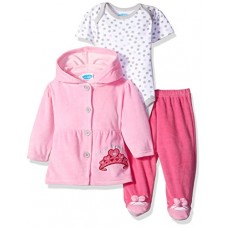 BON BEBE Baby Girls' 3 Piece Set with Velour Jacket Pant and Bodysuit, Little Princess Pink, 0-3 Months