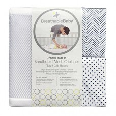 BreathableBaby | Classic 3 Piece Crib Bedding Set |1 White Mesh Crib Liner & 2 Matching Fashion Crib Sheets | Helps Prevent Arms and Legs from Gett...