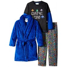 Bunz Kids Little Boys' 3 Piece Game On Robe and Pajama Set, Royal Blue, 4