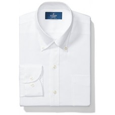"Buttoned Down Men's Slim Fit Button-Collar Solid Non-Iron Dress Shirt (Pocket), White, 14.5"" Neck 34"" Sleeve"