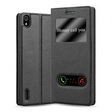 Cadorabo - Book Style Wallet for Huawei P7 in View Design with 2 Viewing Windows, Stand Function and invisible Magnetic Closure - Etui Case Cover P...