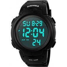 Men's Digital Sports Watch LED Screen Large Face Military Watches and Waterproof Casual Luminous Stopwatch Alarm Simple Army Watch - Black