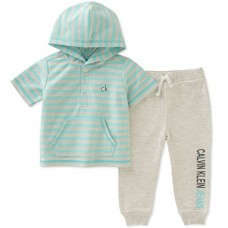 Calvin Klein Baby Boys 2 Pieces Hooded Pant Set, Mint Green/Oatmeal, 12M